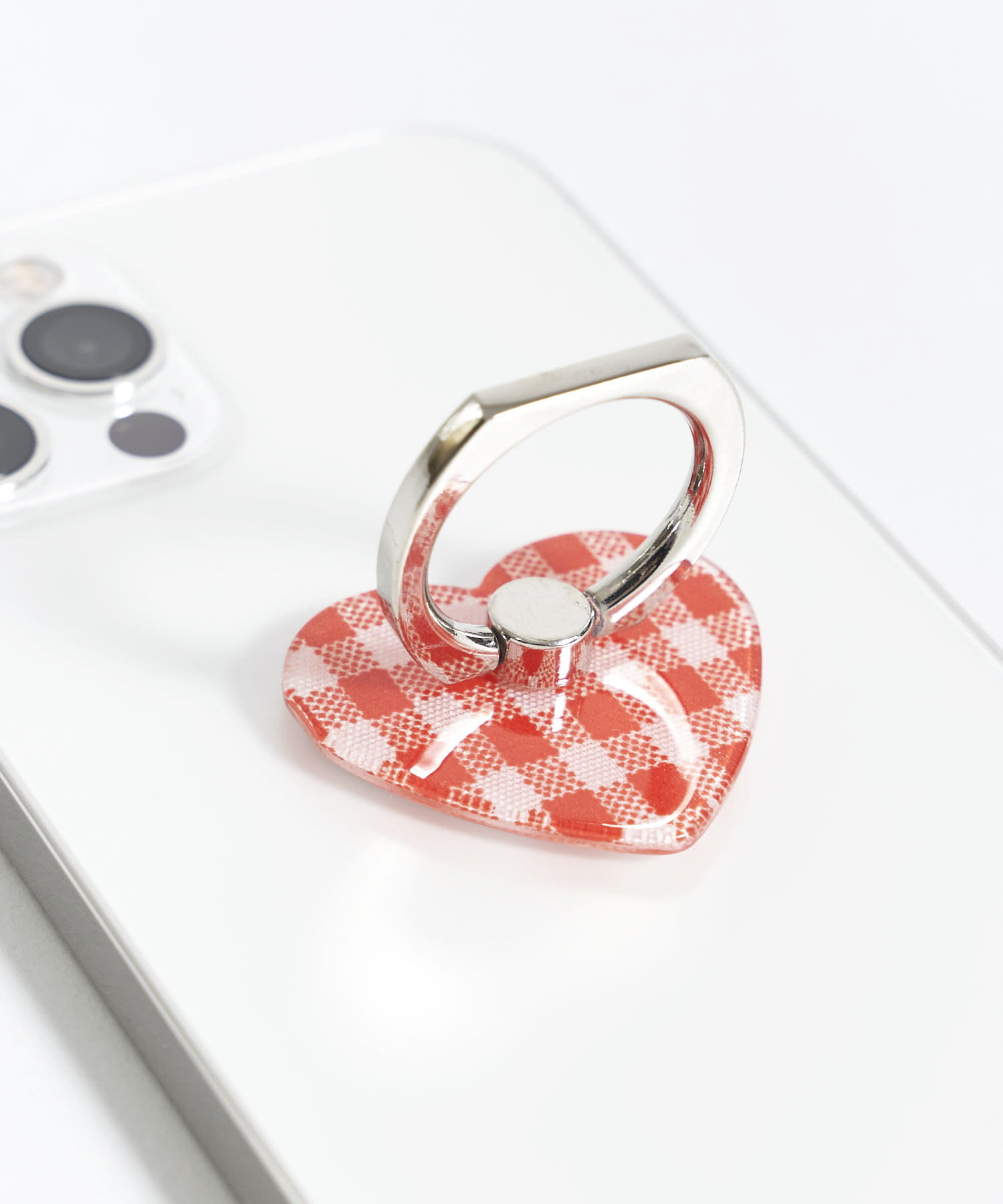 3COINS(スリーコインズ) 【ASOKO】IPHONEリングチェックハート