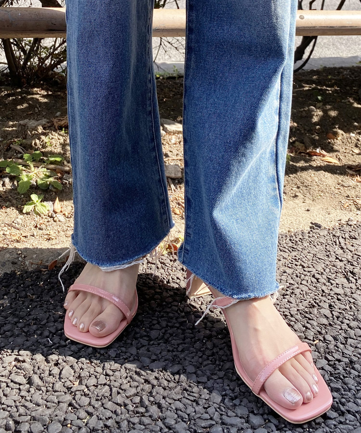 natural couture(ナチュラルクチュール) レディース グミカラーヌーディーサンダル ピンク系その他