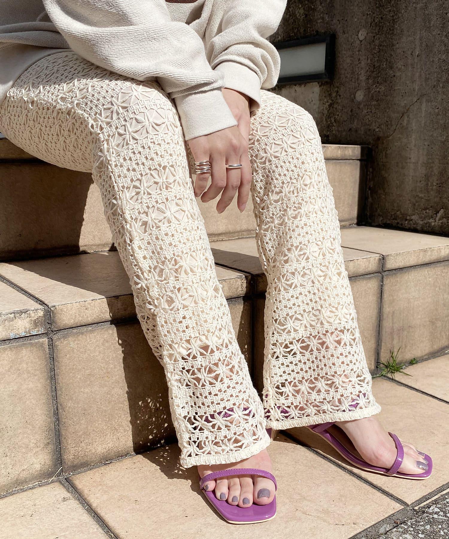 natural couture(ナチュラルクチュール) グミカラーヌーディーサンダル