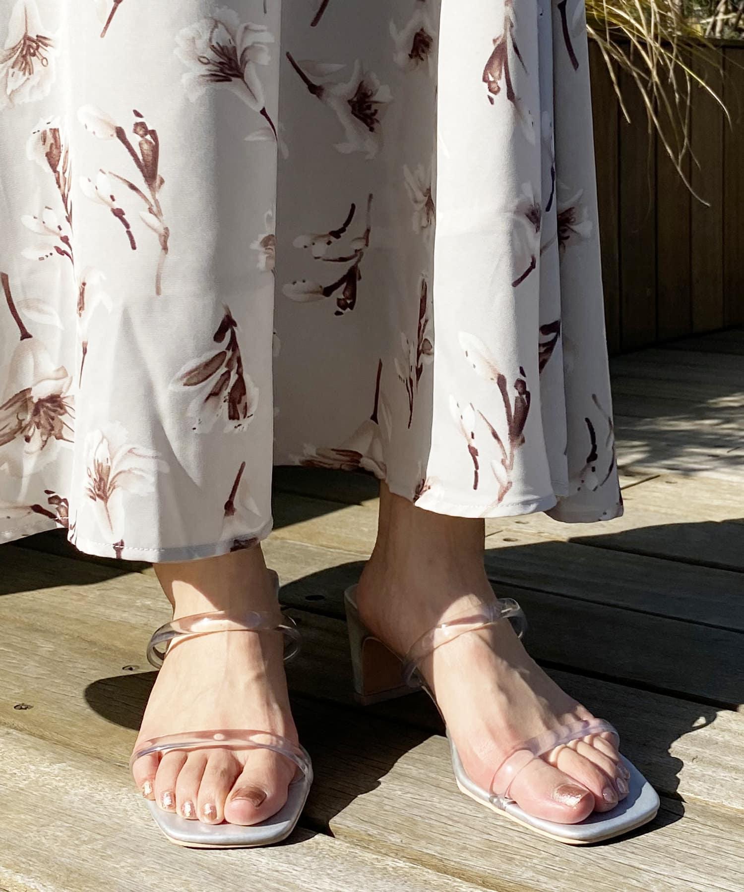natural couture(ナチュラルクチュール) レディース グミカラーヌーディーサンダル クリア