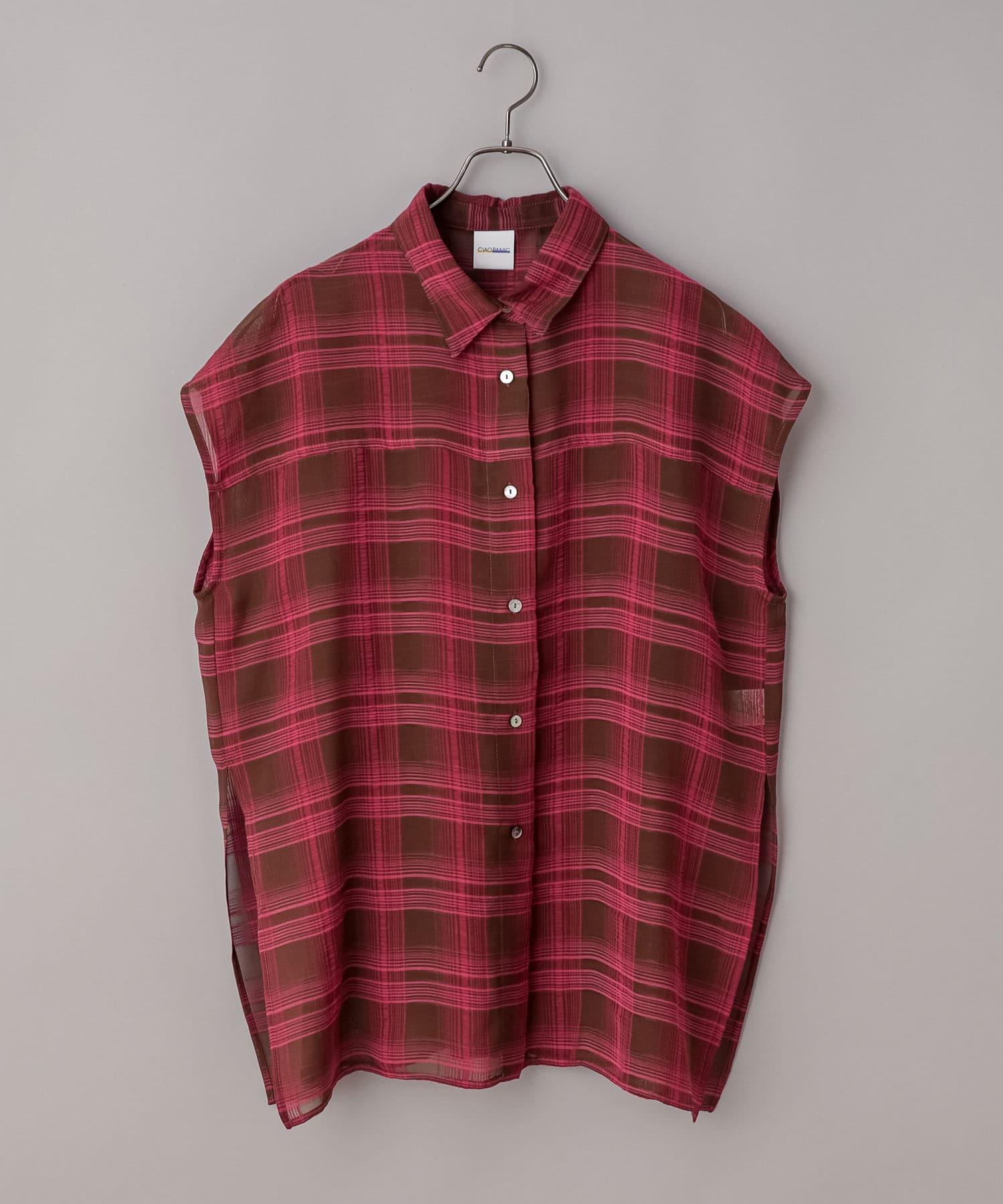 CIAOPANIC(チャオパニック) シアーチェックノースリーブシャツ