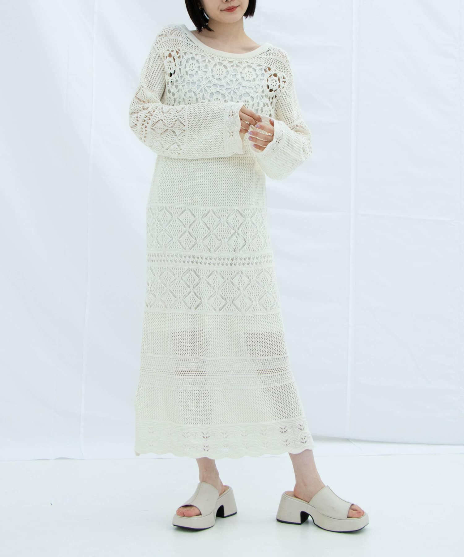 Kastane(カスタネ) かぎ針パッチワーク編みワンピース 【動画あり】
