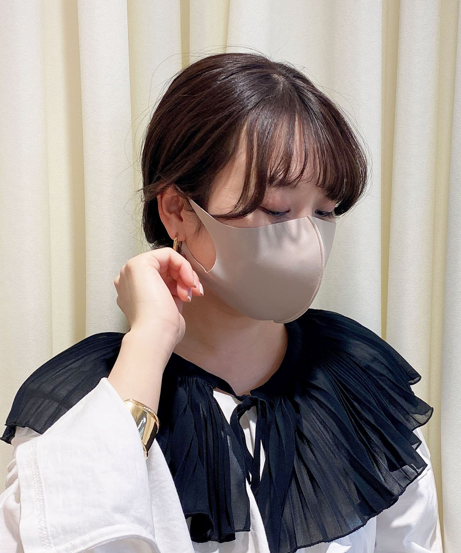 Lattice(ラティス) レディース 《ニュアンスカラー冷感抗菌マスク》4枚SET(小さめサイズ) ベージュ