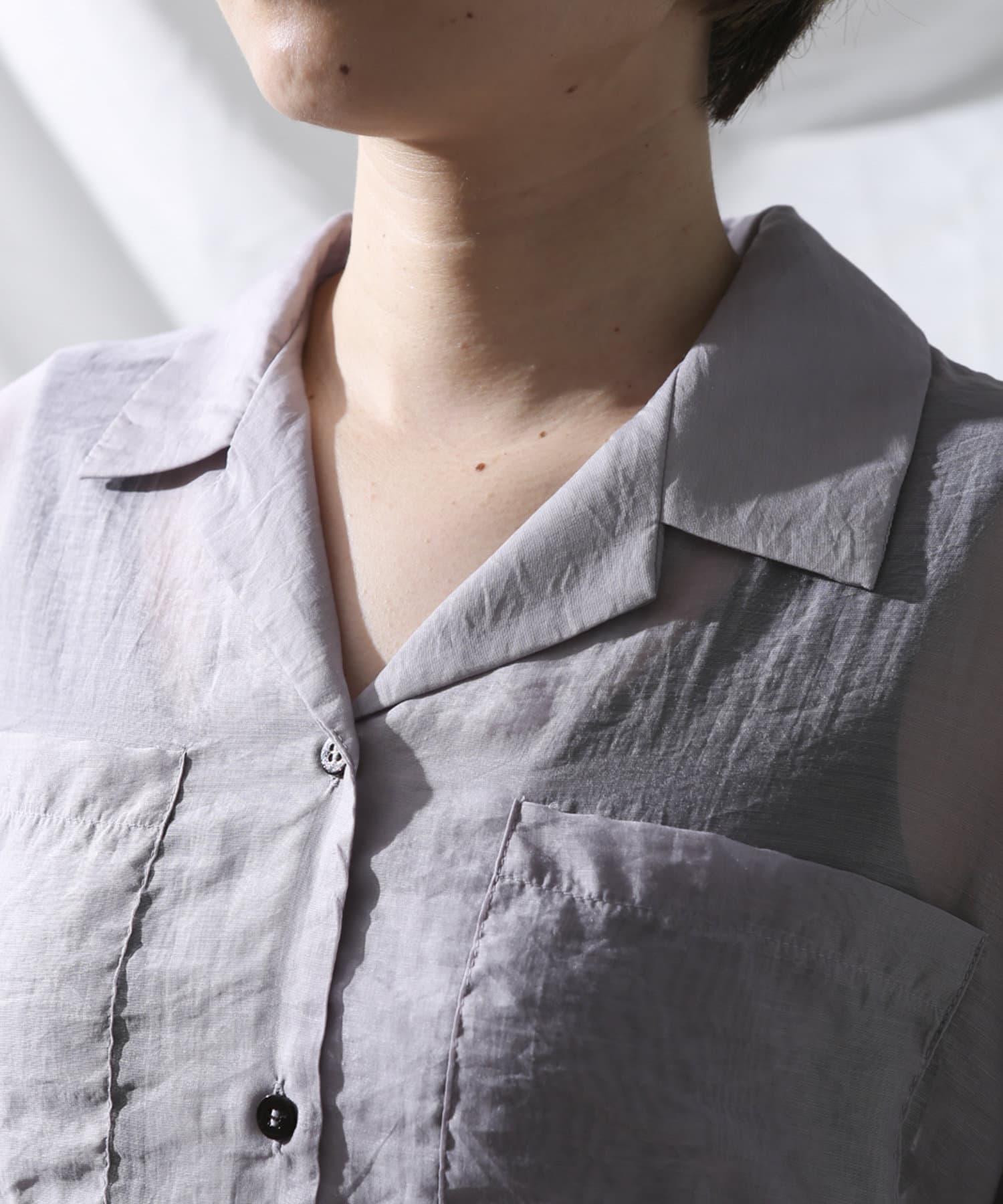 Thevon(ゼヴォン) 両ポケ開襟シアーシャツ
