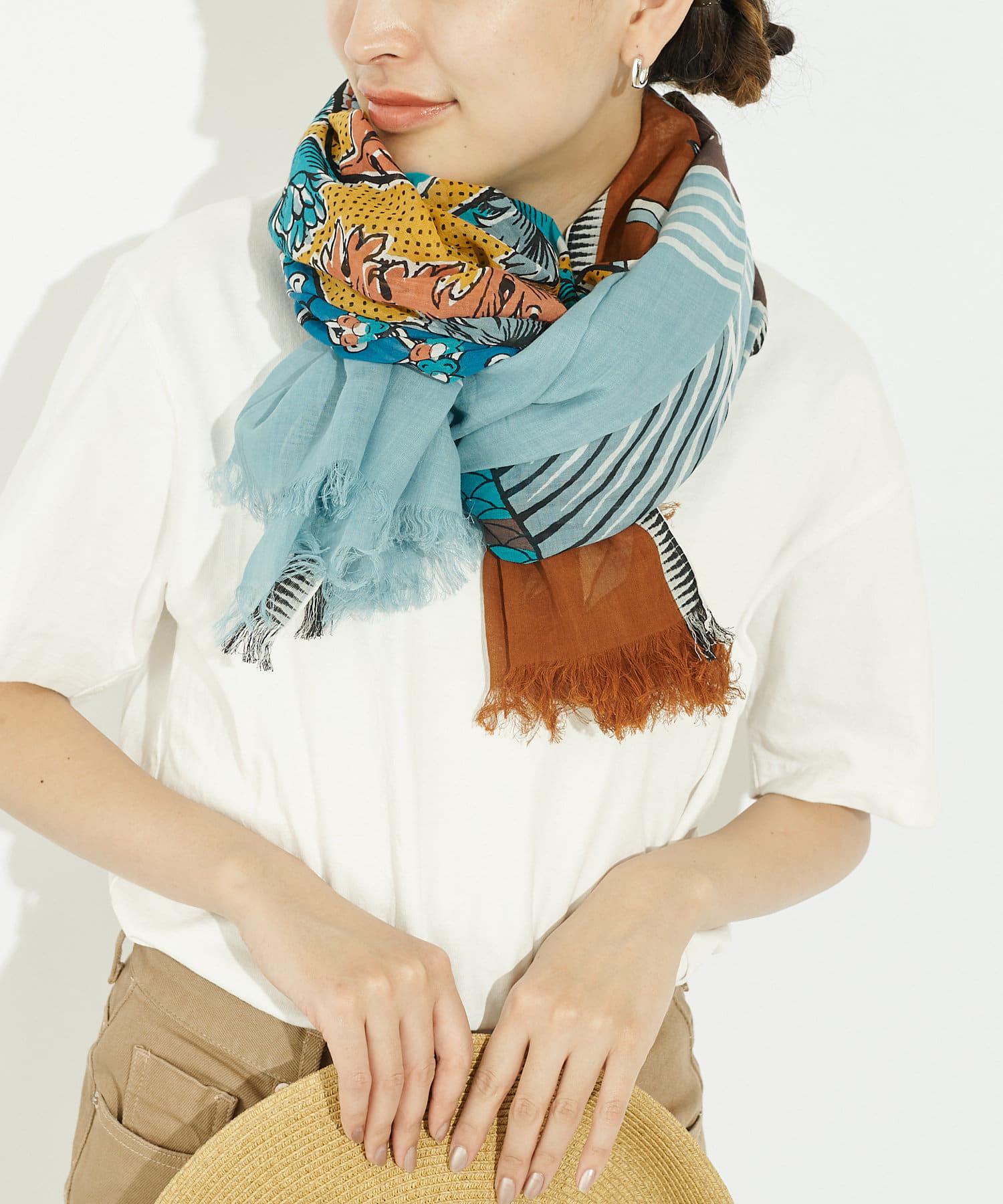 ear PAPILLONNER(イア パピヨネ) (WEB限定カラー:ブルー)【INOUI Editions】ネコ&魚ストール