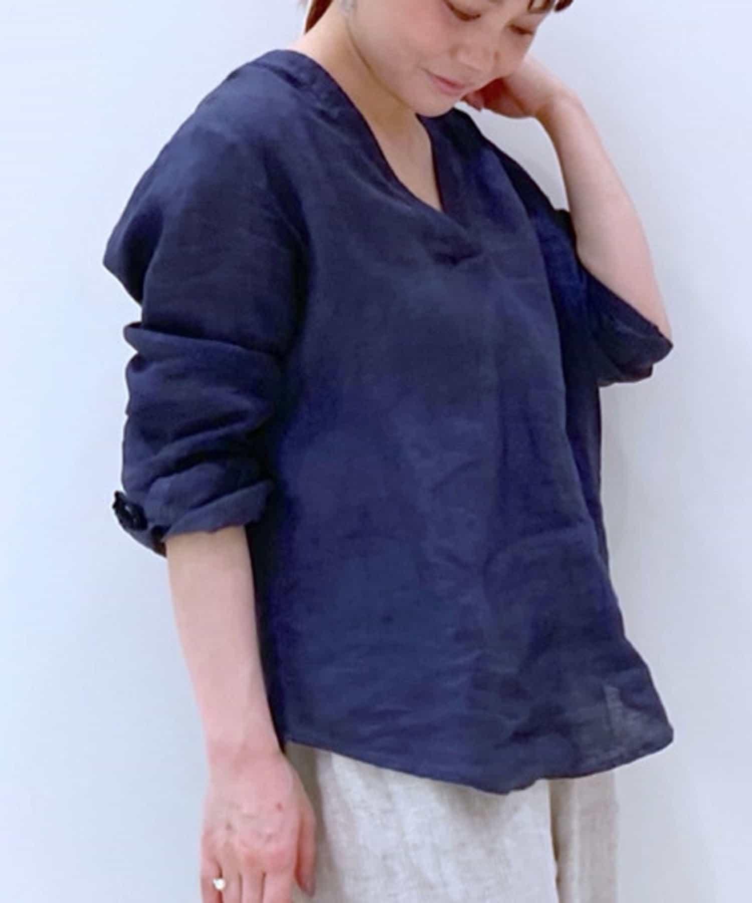 LIVETART(リヴェタート) 【動画付き】《120%lino》Vネックリネンブラウス