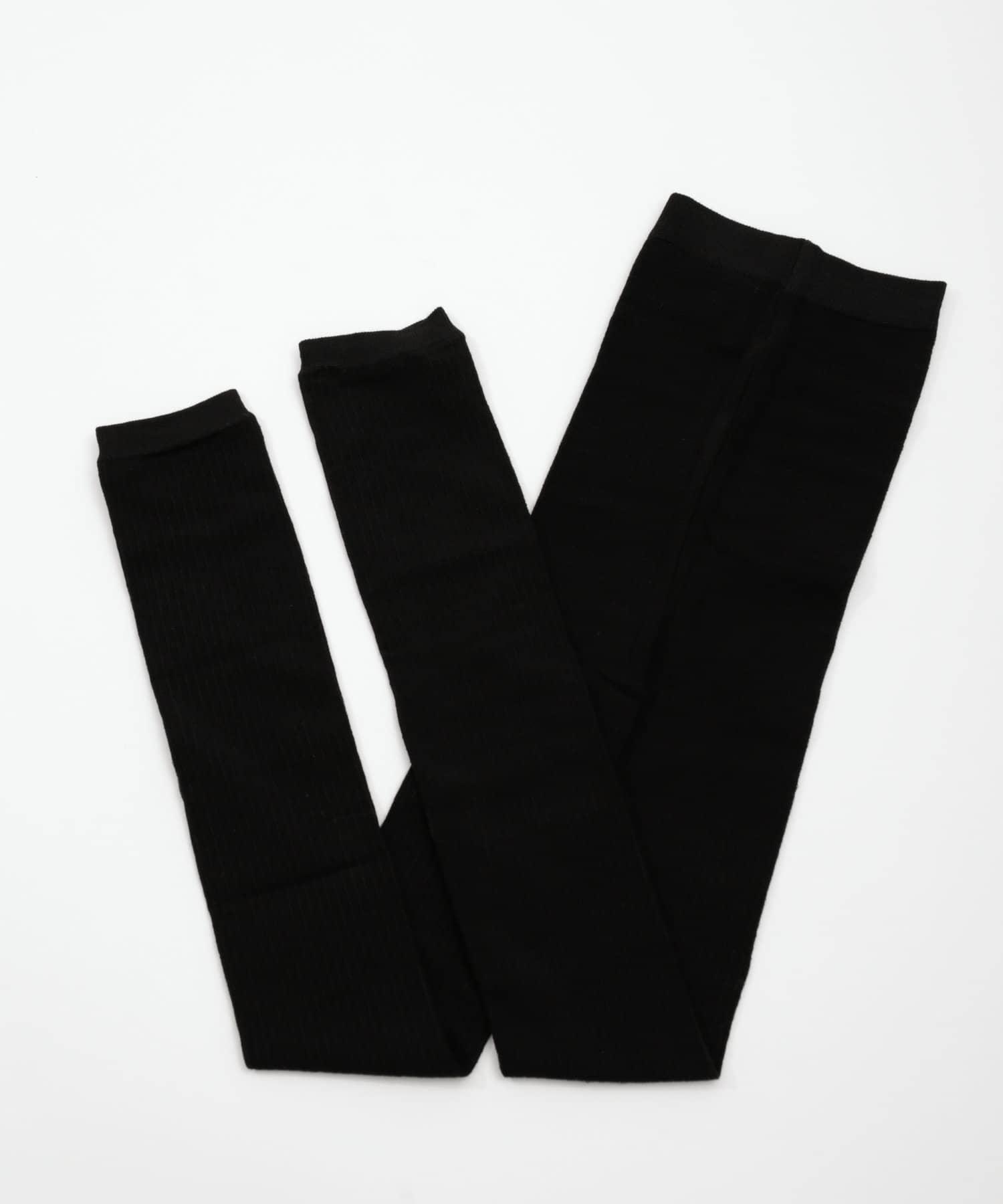 3COINS(スリーコインズ) ライフスタイル 綿混リブレギンスAg+L ブラック
