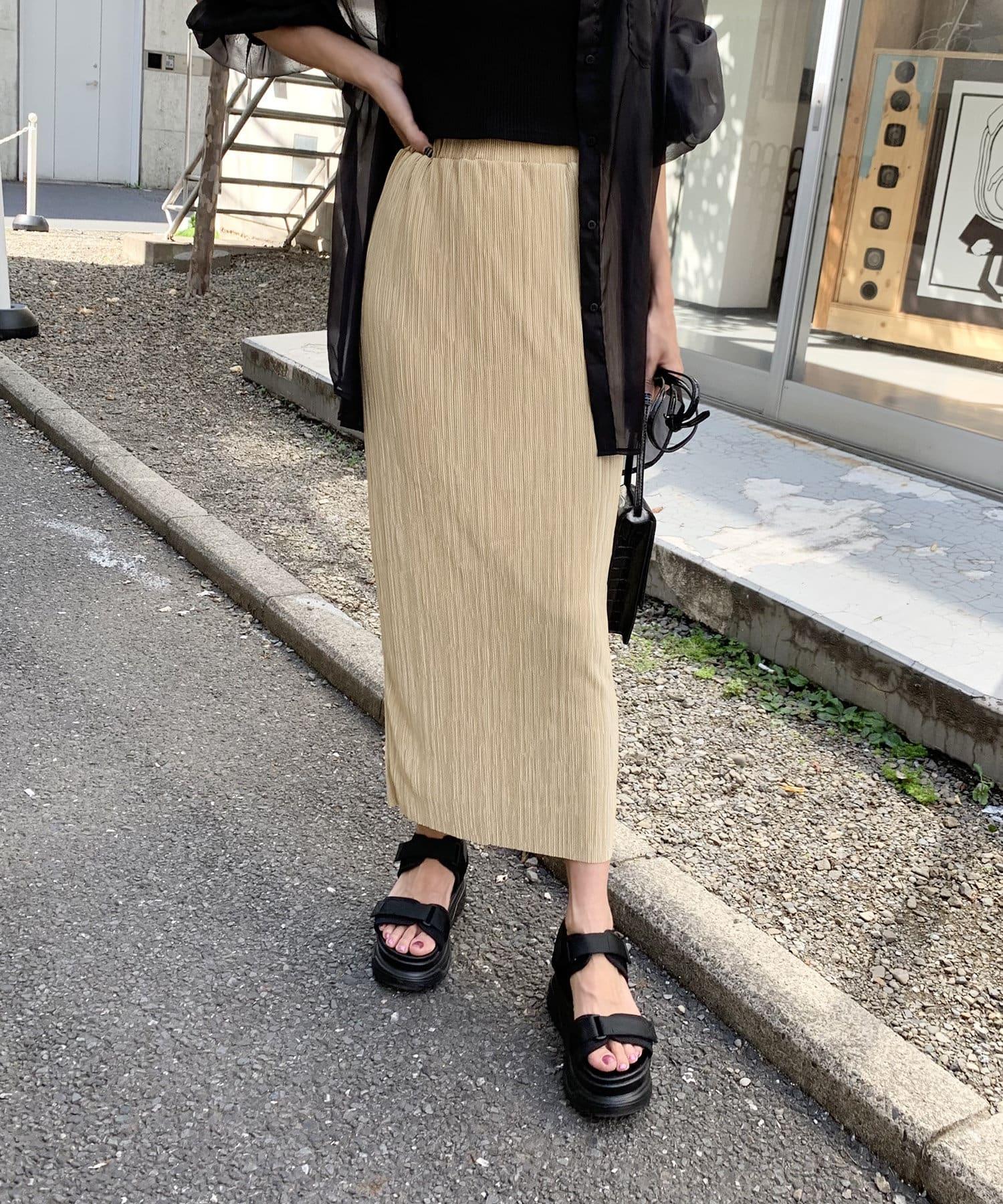 RASVOA(ラスボア) ミニプリーツタイトロングスカート