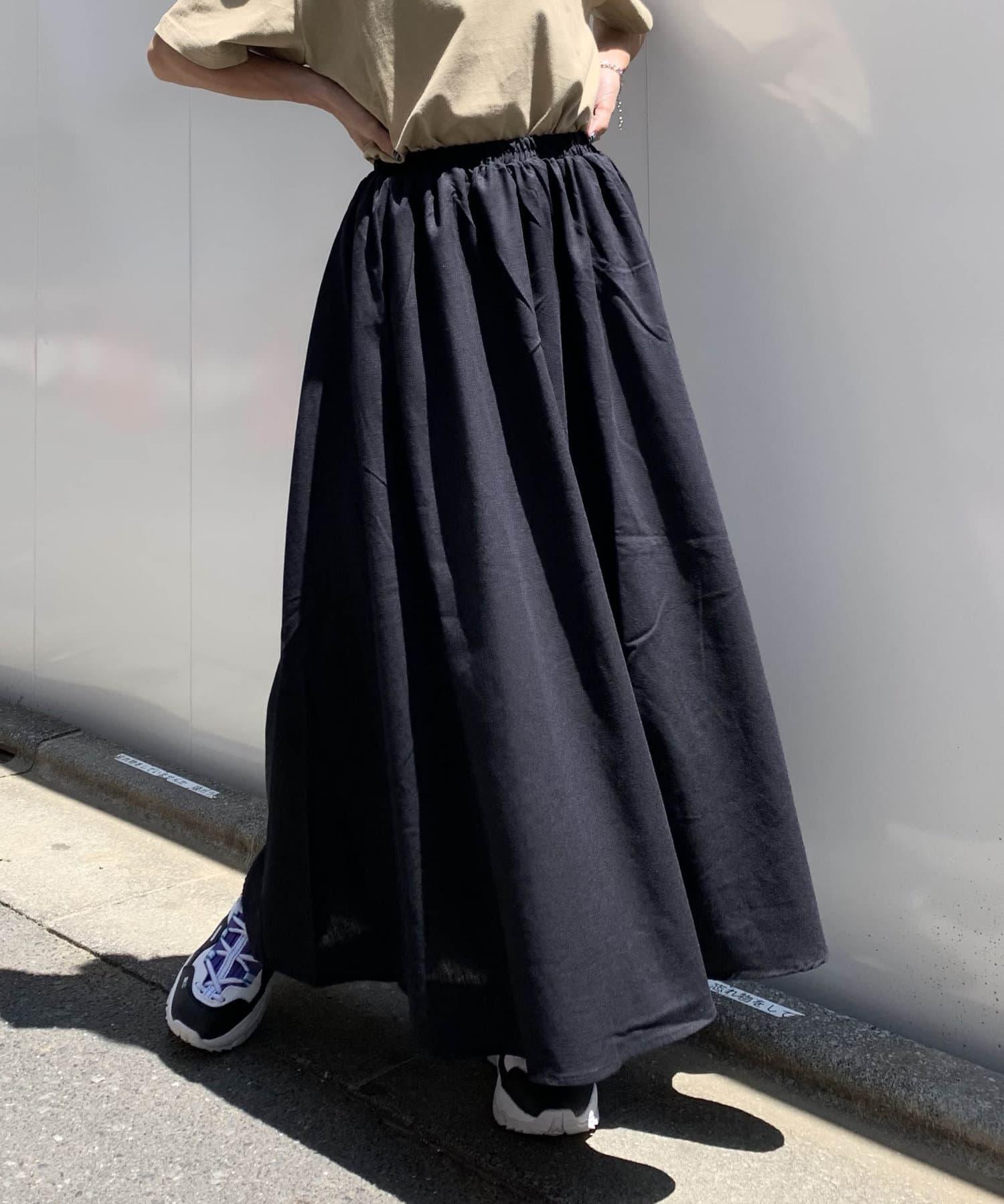 RASVOA(ラスボア) リネンギャザーロングスカート