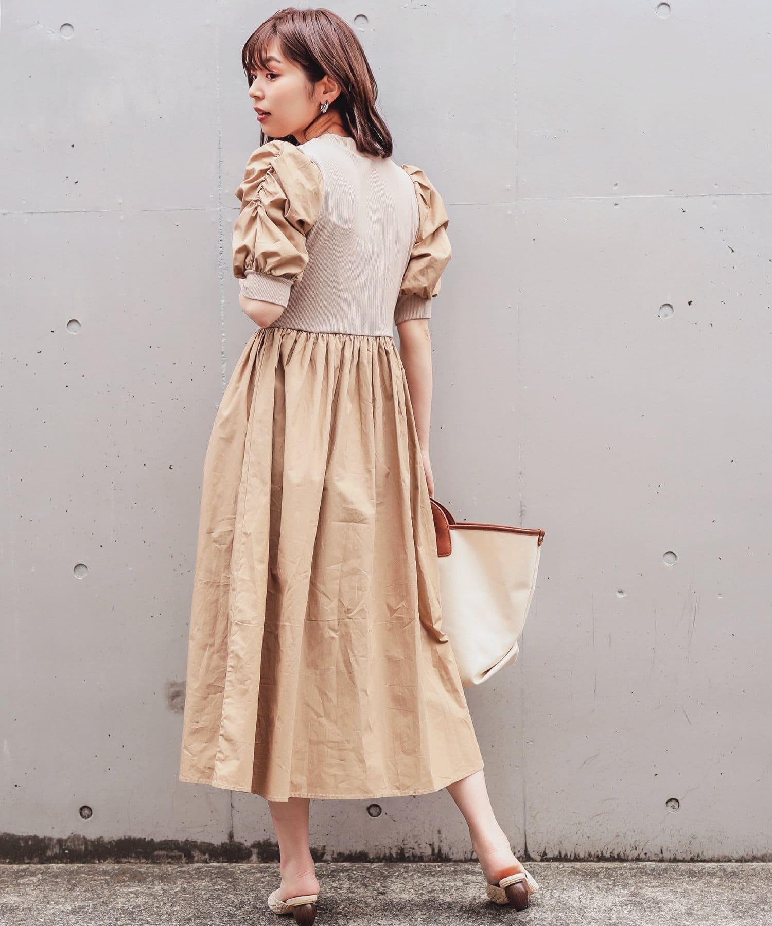 natural couture(ナチュラルクチュール) 【WEB限定】袖コンシャスドッキングワンピース