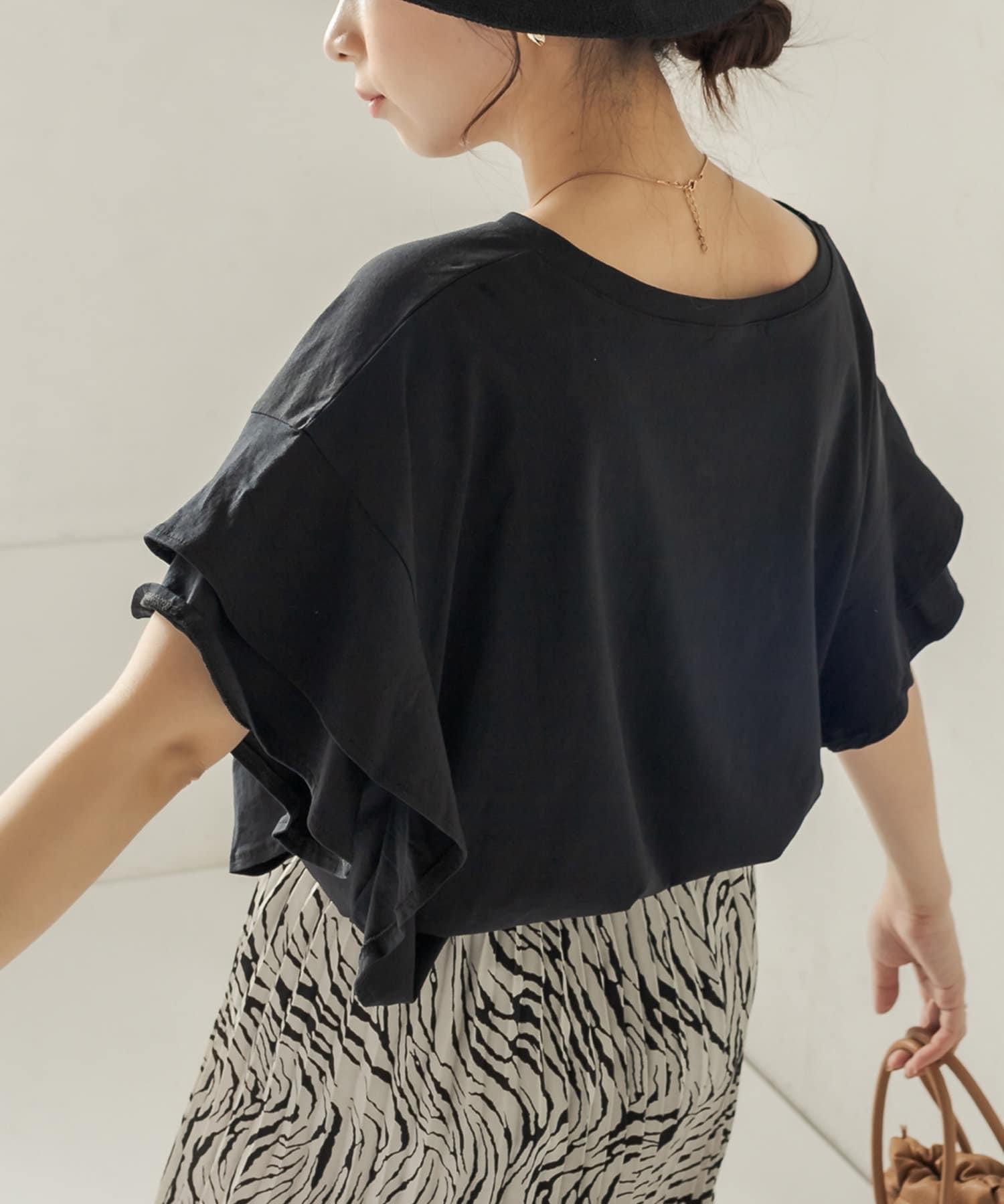 CAPRICIEUX LE'MAGE(カプリシュレマージュ) 〈WEB限定〉フリルスリーブTシャツ
