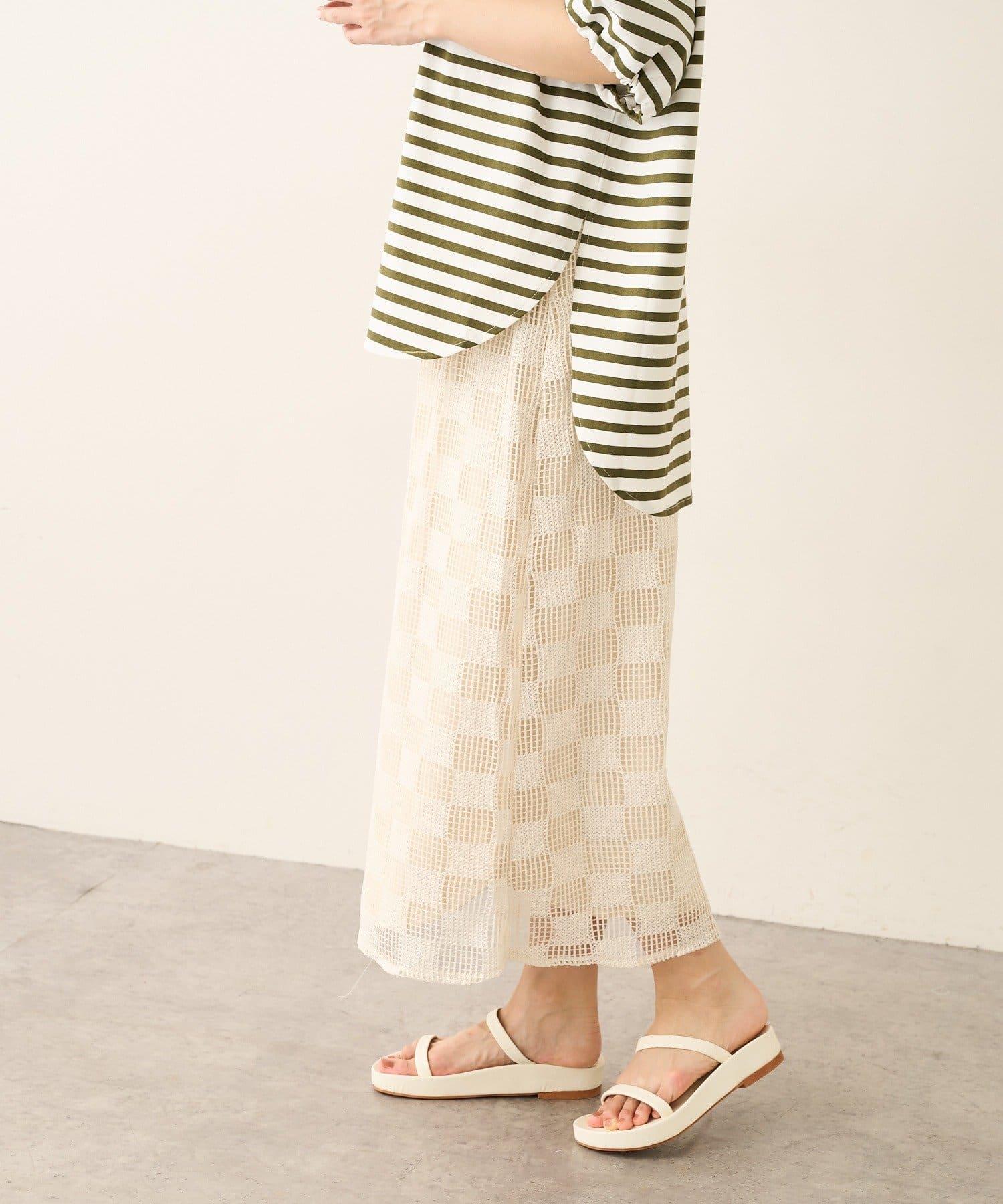 Lui's(ルイス) ブロックチェックメッシュタイトスカート