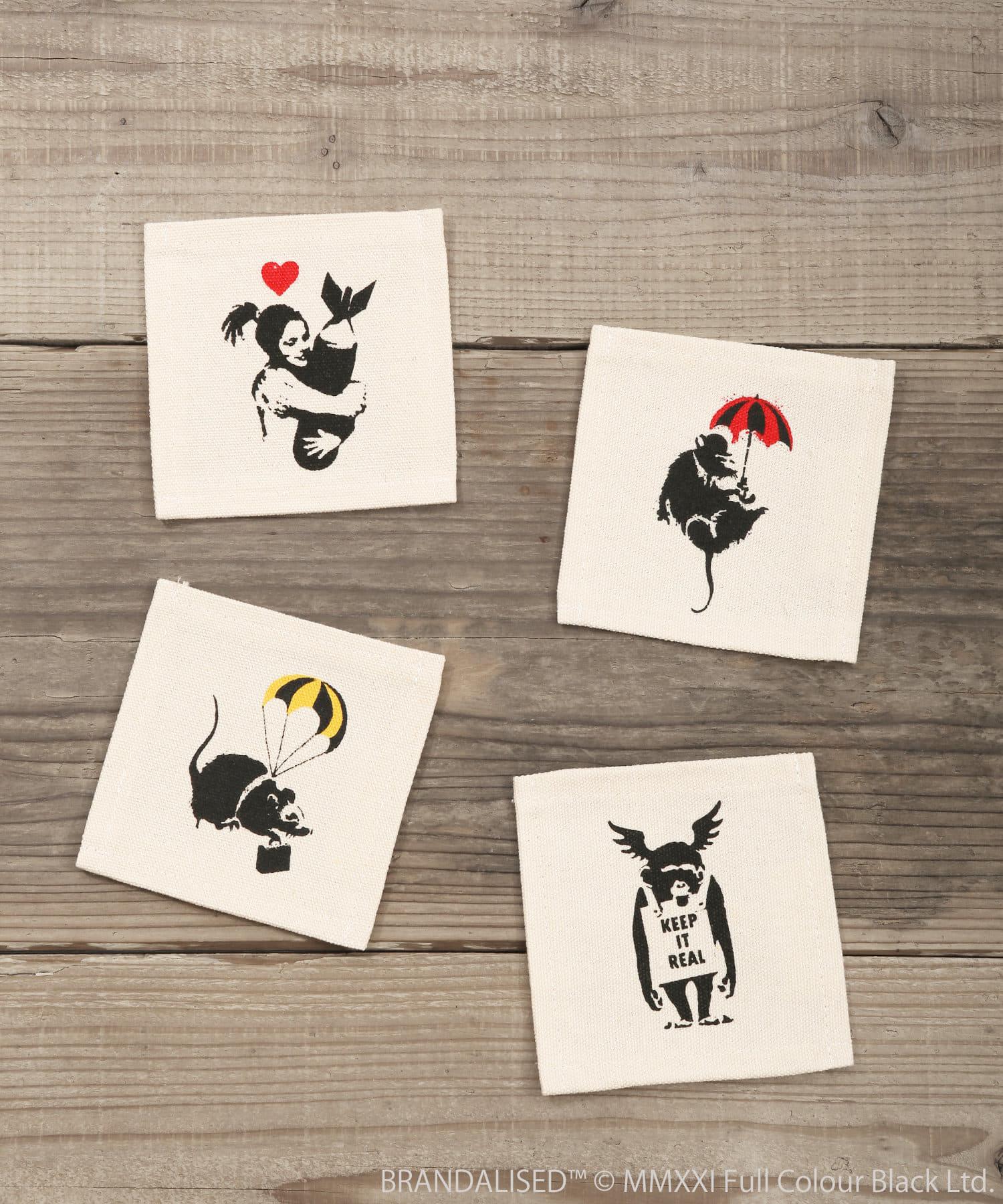 ASOKO(アソコ) ライフスタイル Banksy's Graffiti キャンバスコースター4枚セット その他
