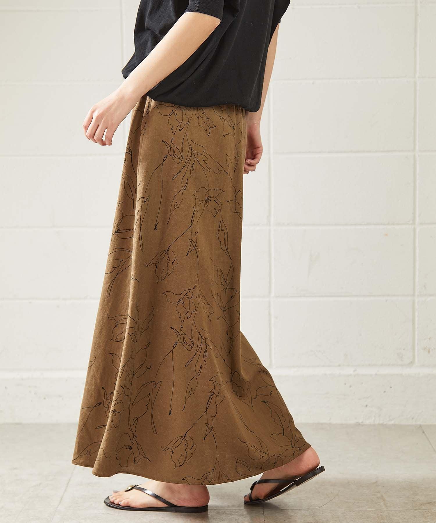 OUVRAGE CLASSE(ウヴラージュクラス) レーヨン麻キャンバスプリントスカート