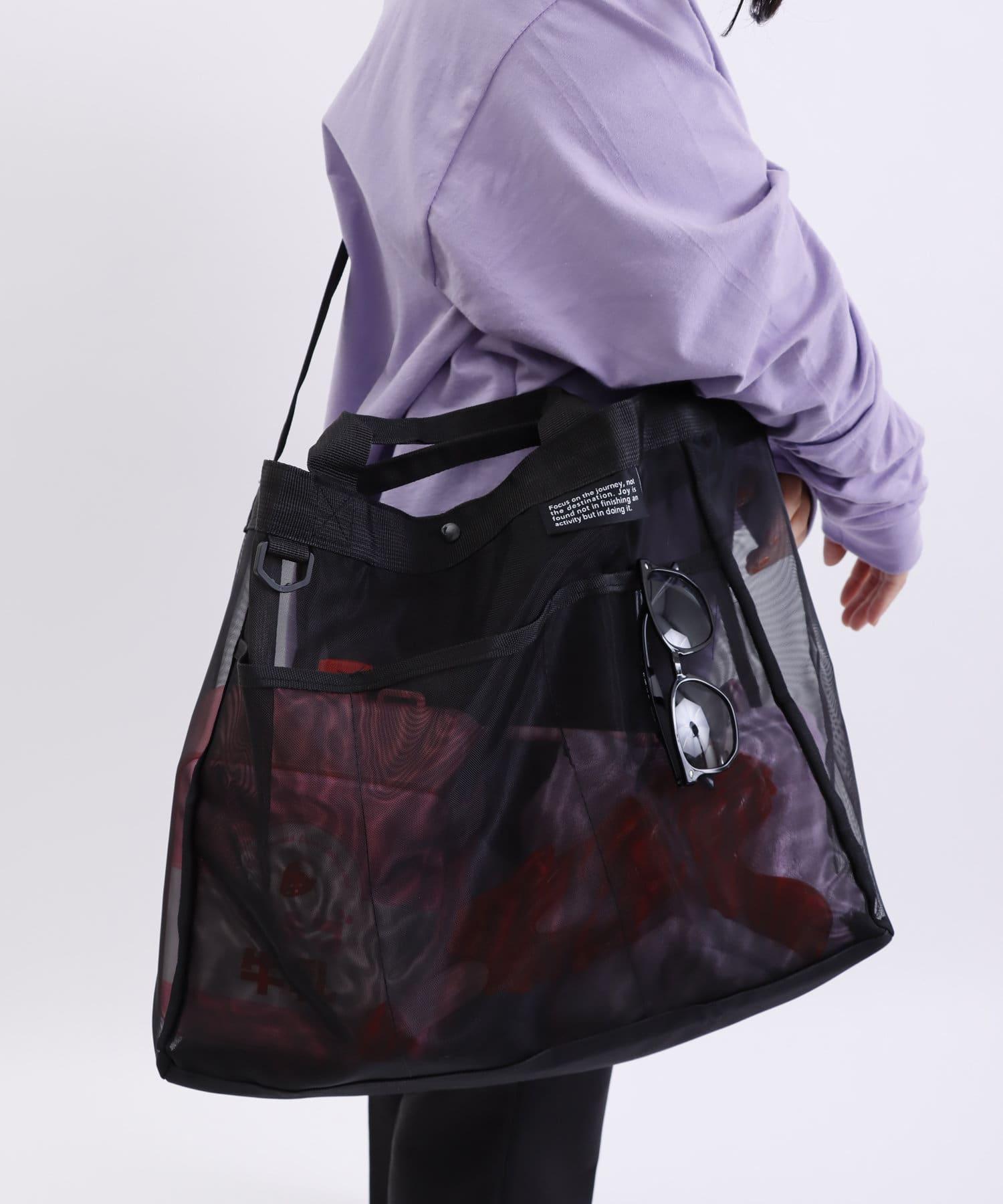 3COINS(スリーコインズ) ライフスタイル 【デザインが新しくなりました】大容量メッシュバッグ ブラック