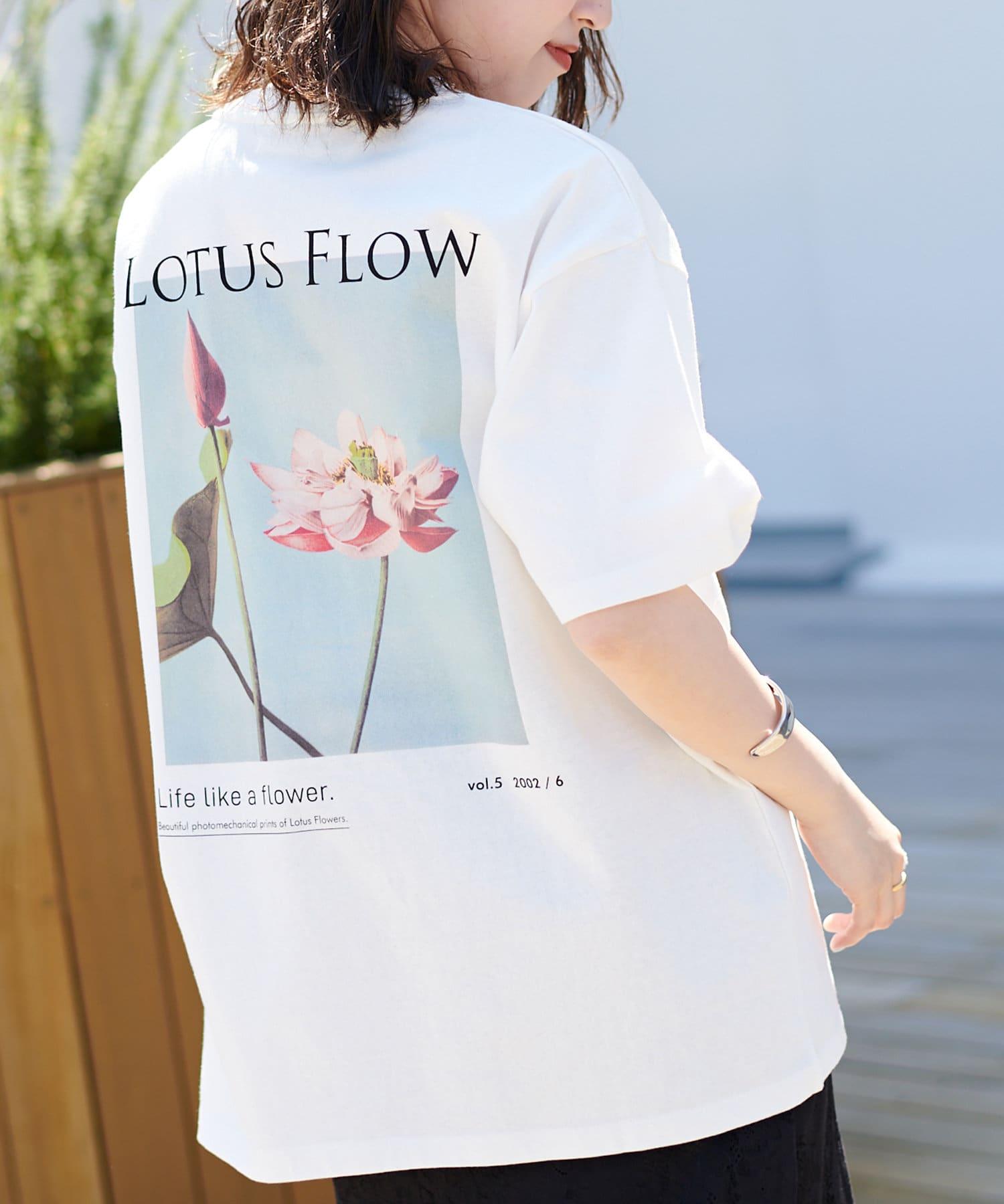 Discoat(ディスコート) 【LOTUS】フラワーバックプリントTシャツ(ユニセックスで着用可能)