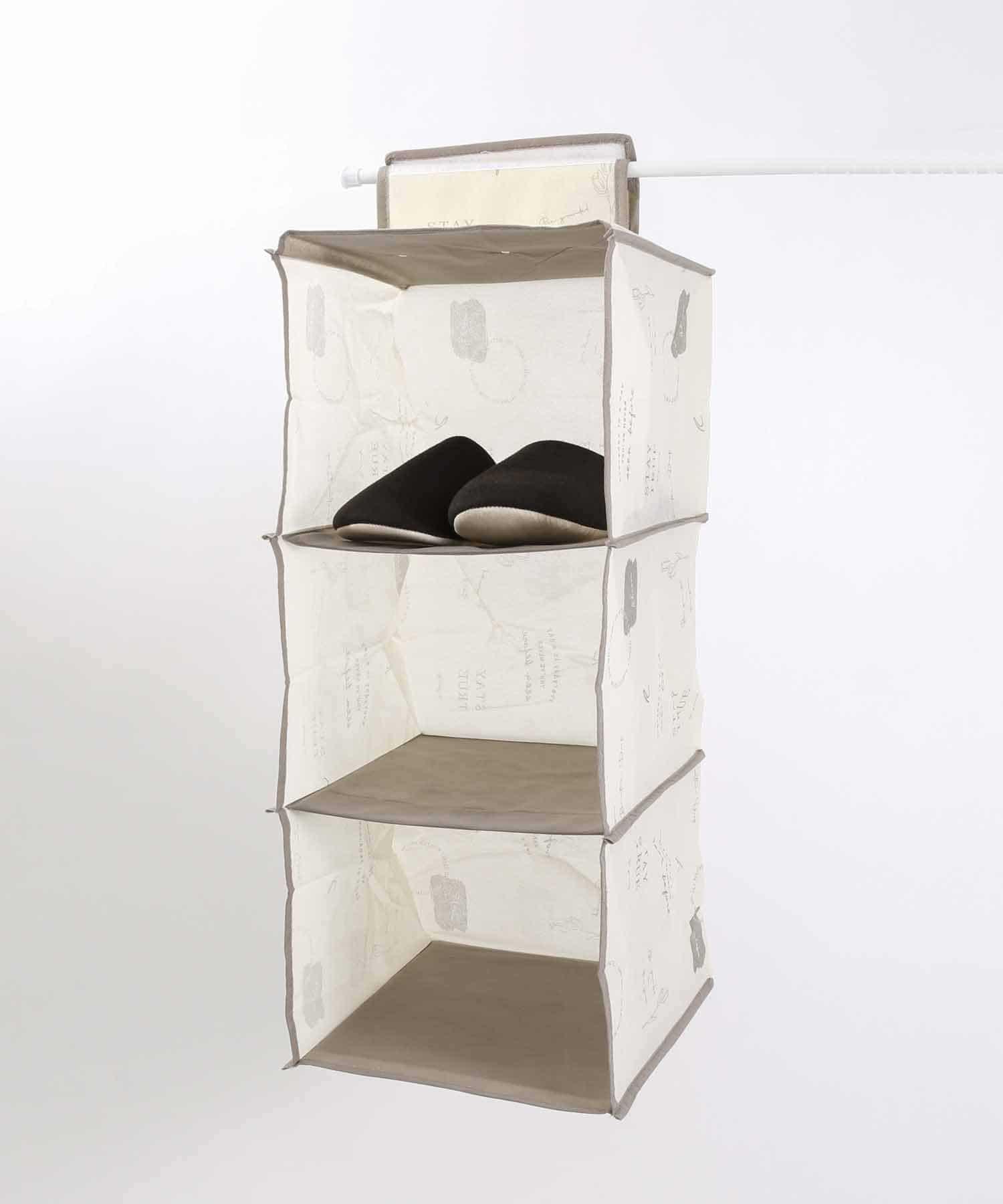 3COINS(スリーコインズ) ライフスタイル 【一部大型店舗限定】吊り下げ三段収納ワイド アイボリー
