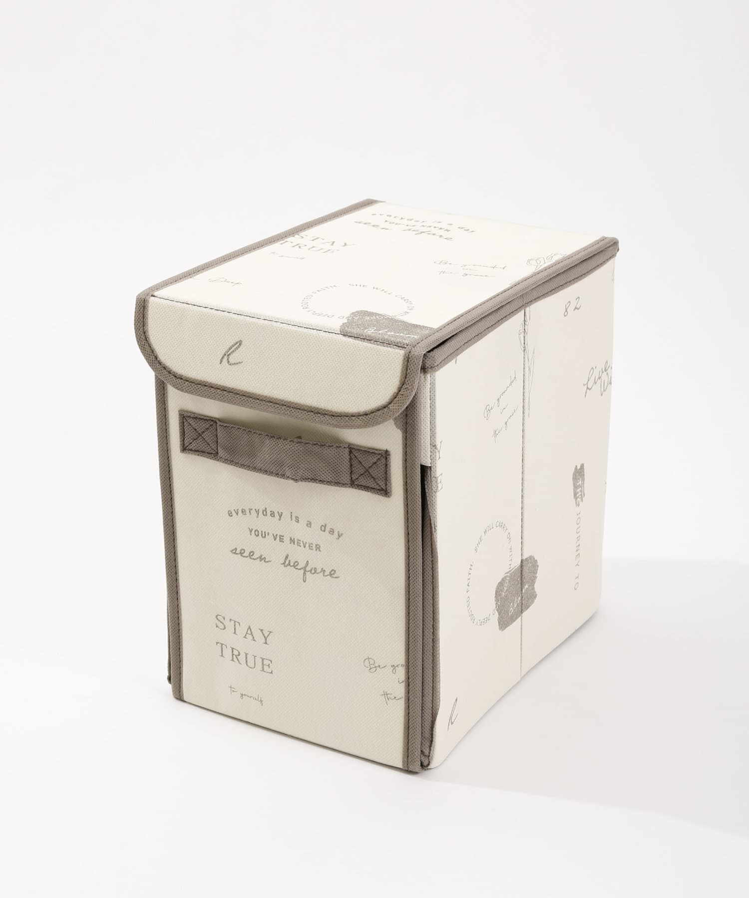 3COINS(スリーコインズ) ライフスタイル 【一部大型店舗限定】フタ付前開き収納BOX アイボリー