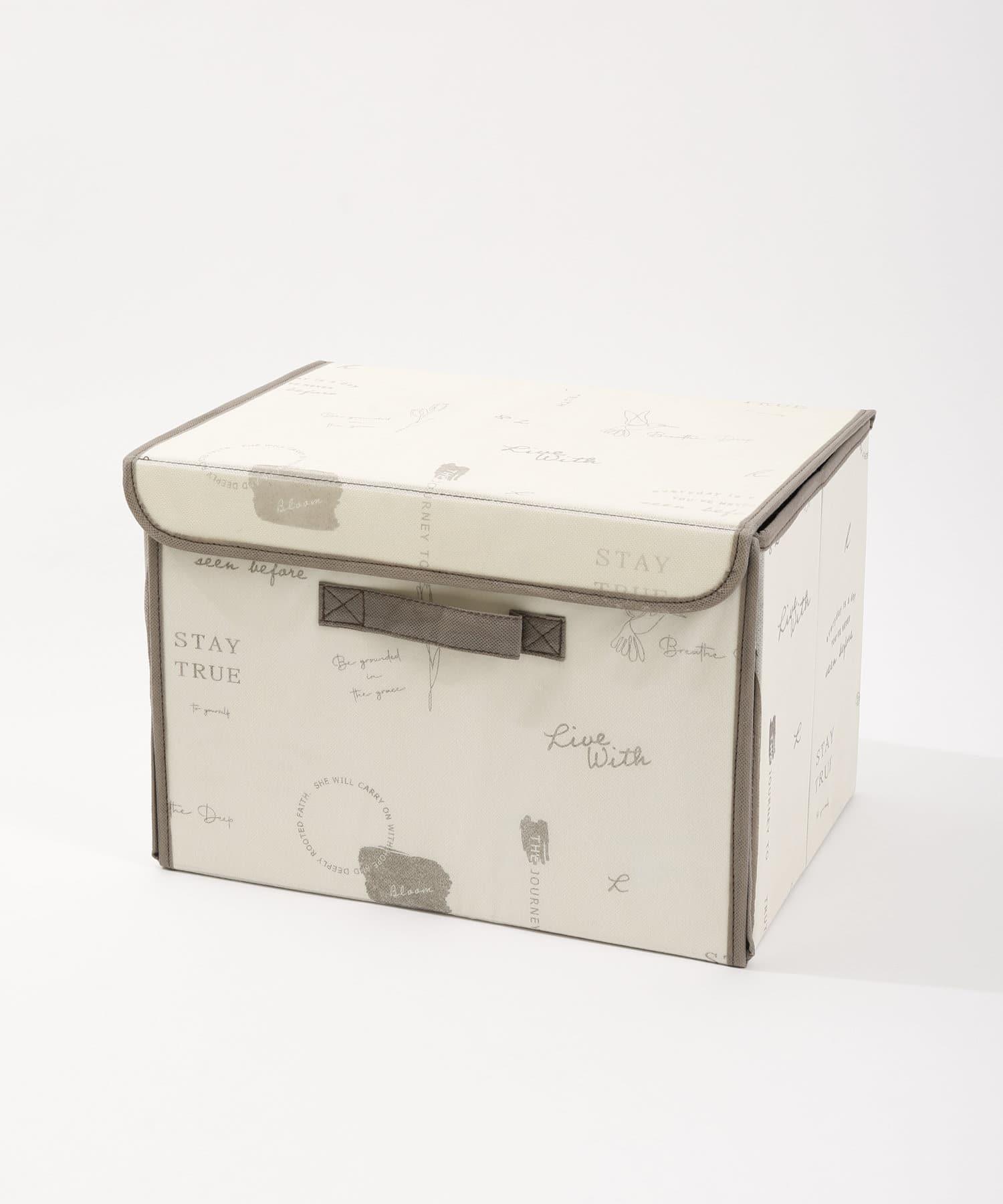 3COINS(スリーコインズ) ライフスタイル フタ付前開きワイドBOX アイボリー