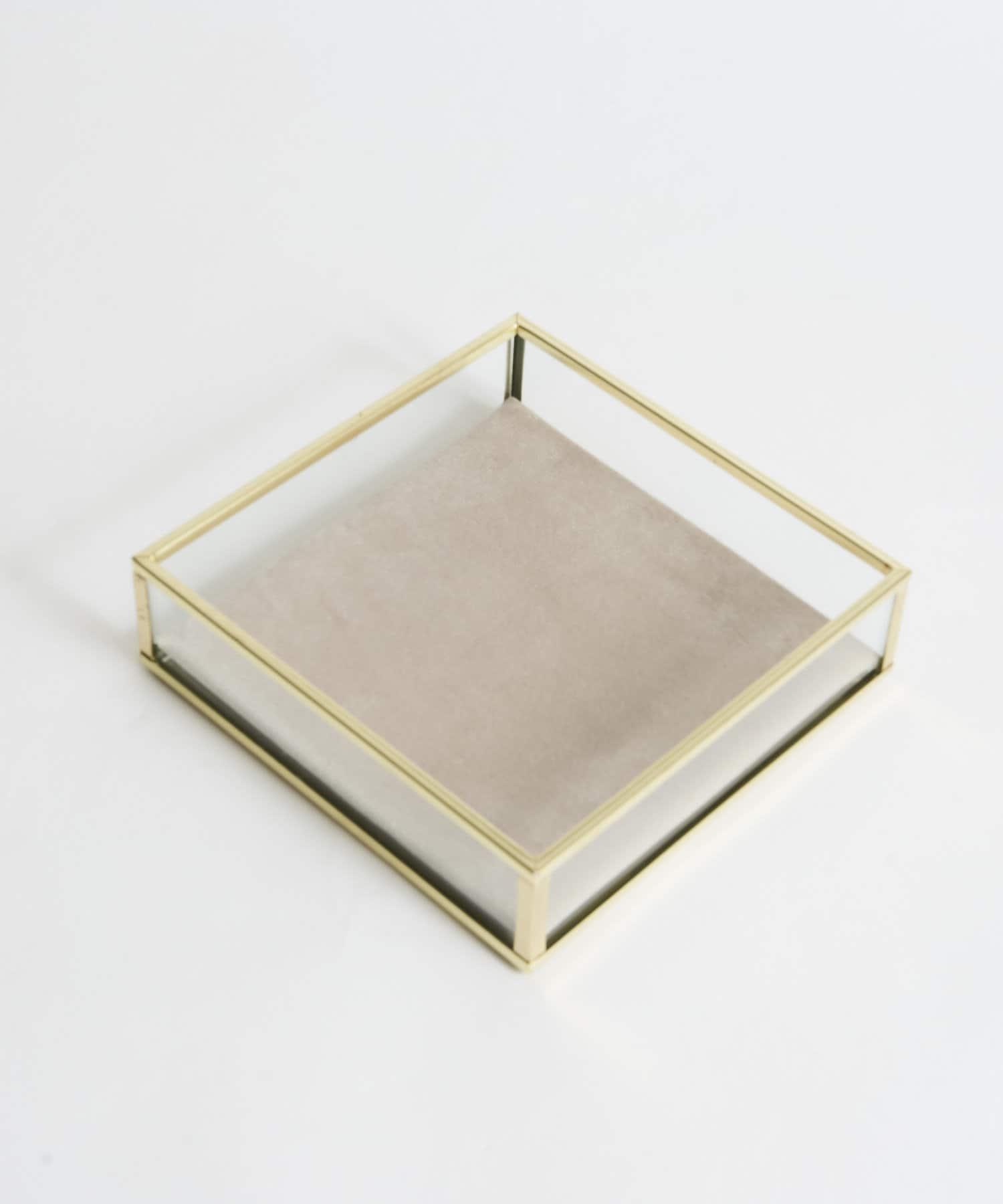 Lattice(ラティス) 《オシャレに収納》GOLDFRAME ベロアトレイ(正方形)