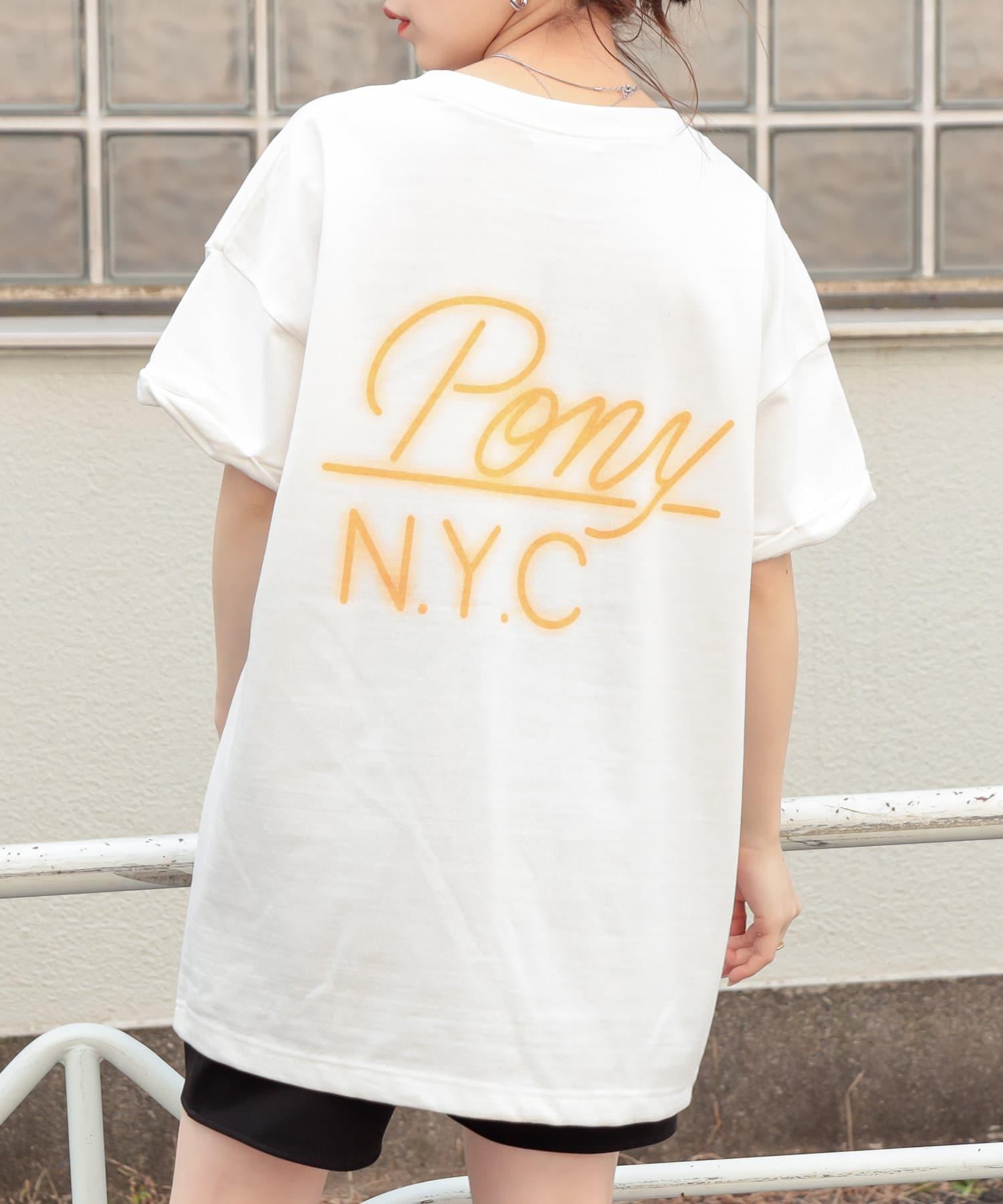 who's who Chico(フーズフーチコ) PONYネオンバックロゴ半袖Tシャツ
