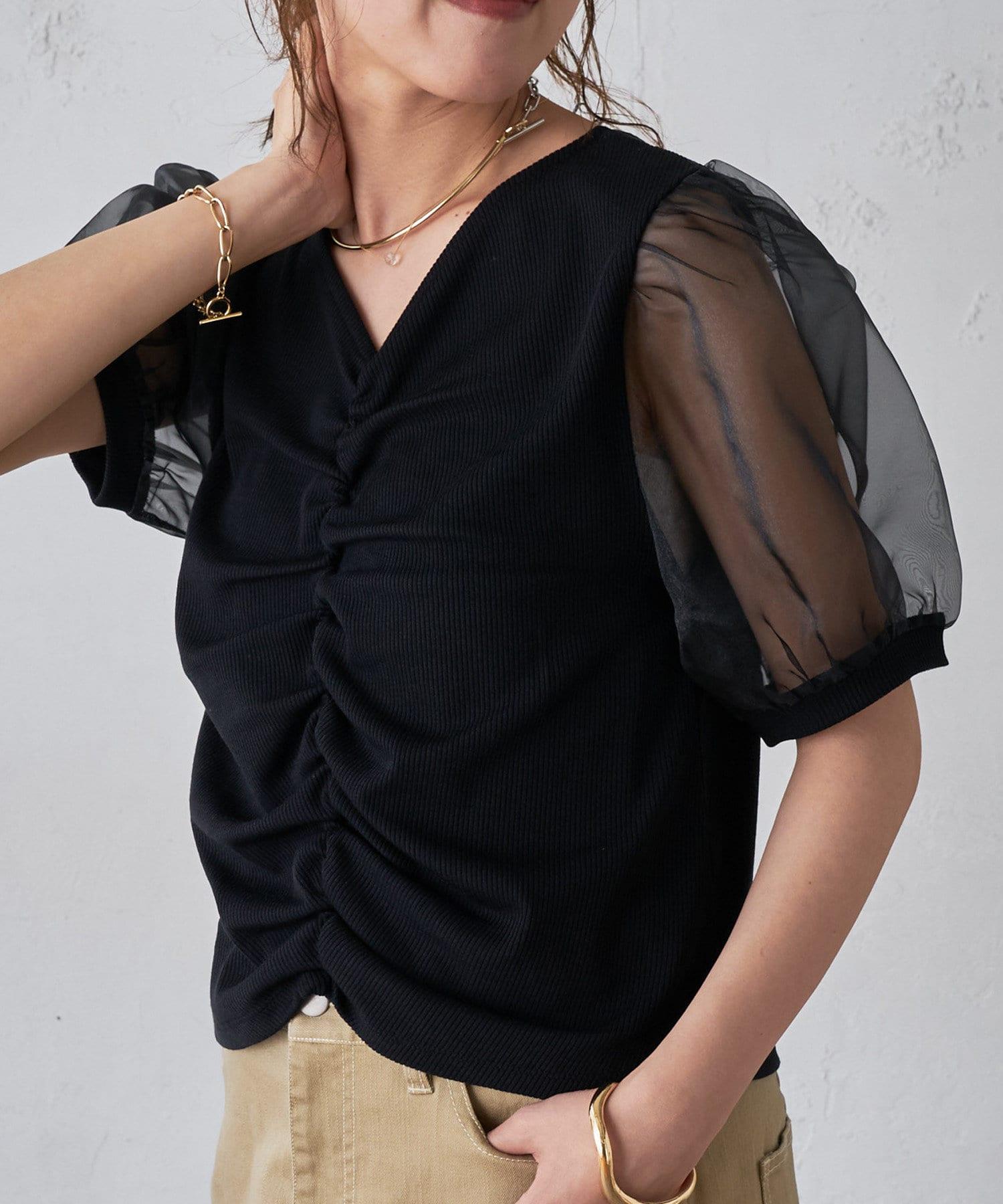 Discoat(ディスコート) レディース リブシャーリング袖ボリュームプルオーバー ブラック