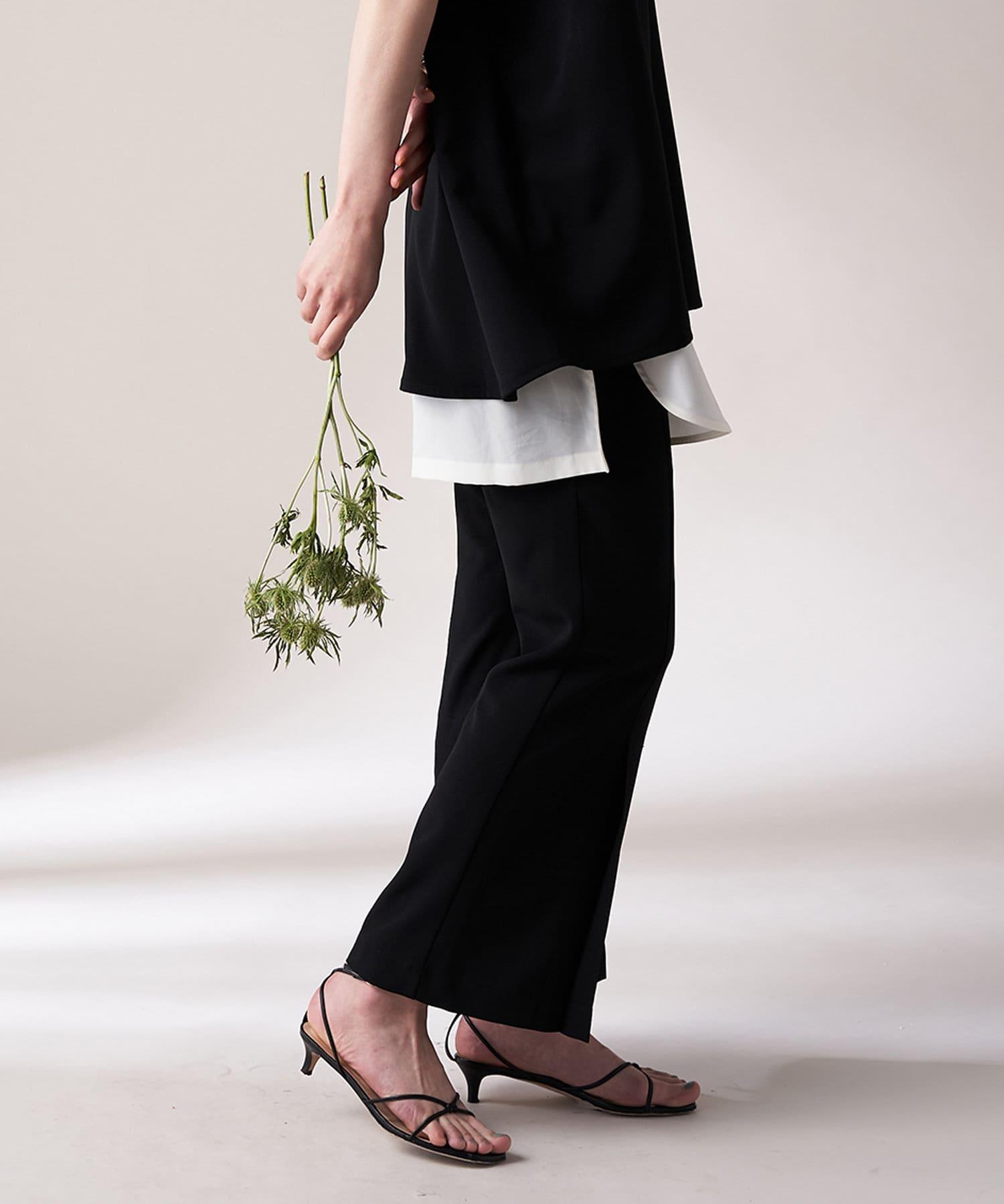 Loungedress(ラウンジドレス) レディース 【odore/オドル】タックフレアクロップドパンツ ブラック