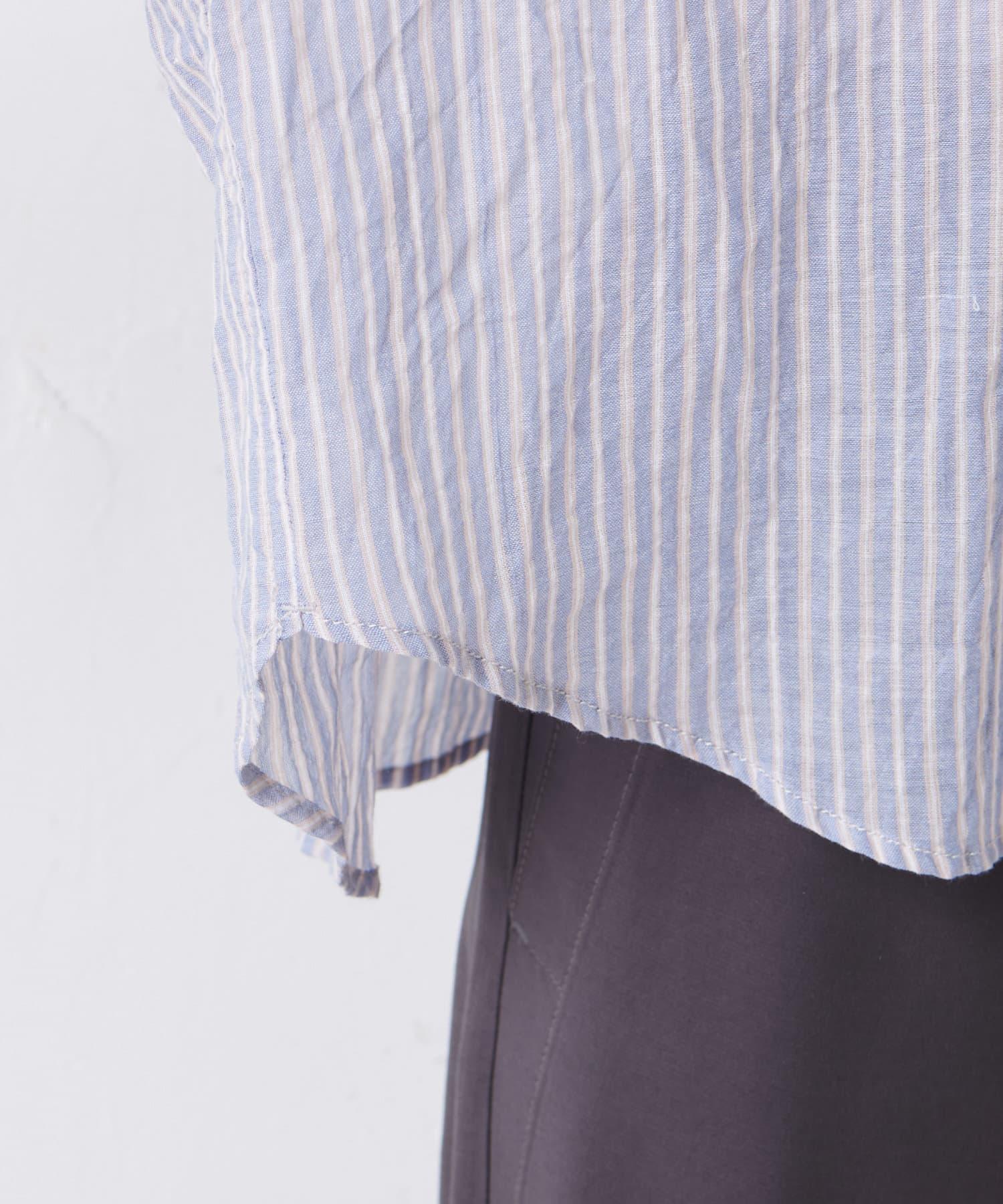pual ce cin(ピュアルセシン) 綿ポリウレタンシャーリング襟フリルブラウス