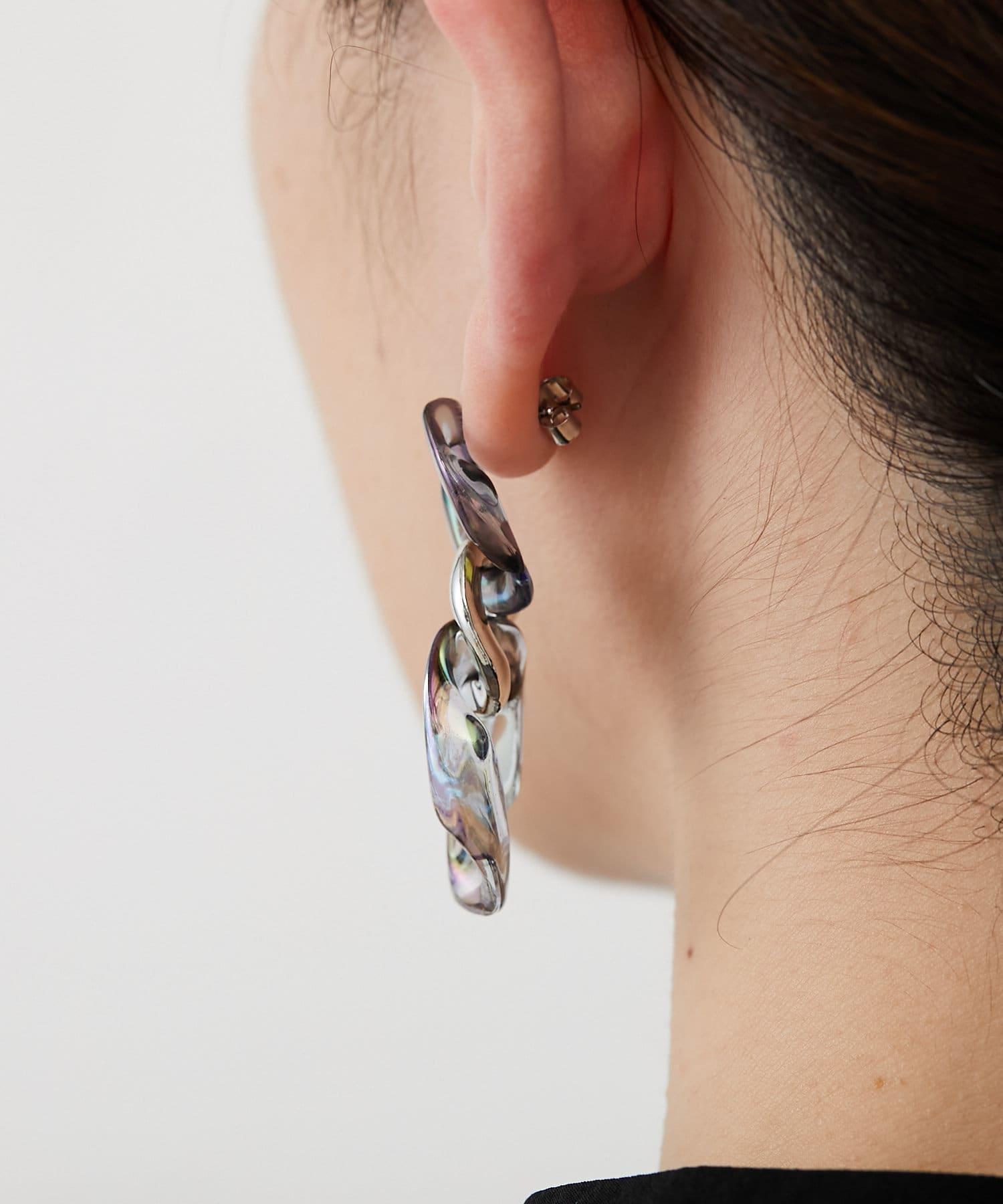 ear PAPILLONNER(イア パピヨネ) (WEB限定カラー:ブラックニッケル)オーロラチェーンピアス