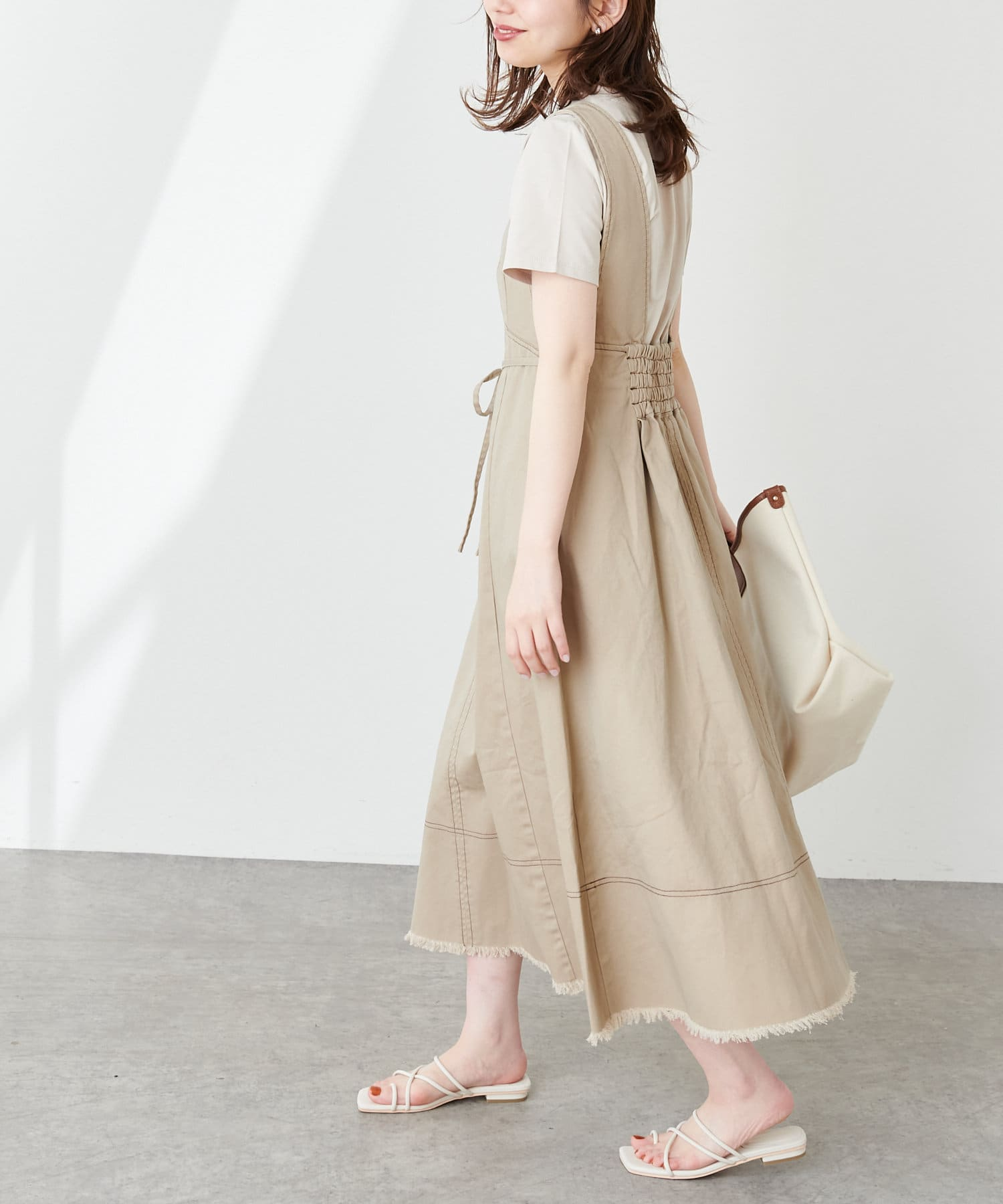 natural couture(ナチュラルクチュール) 裾フリンジ配色ステッチジャンスカ