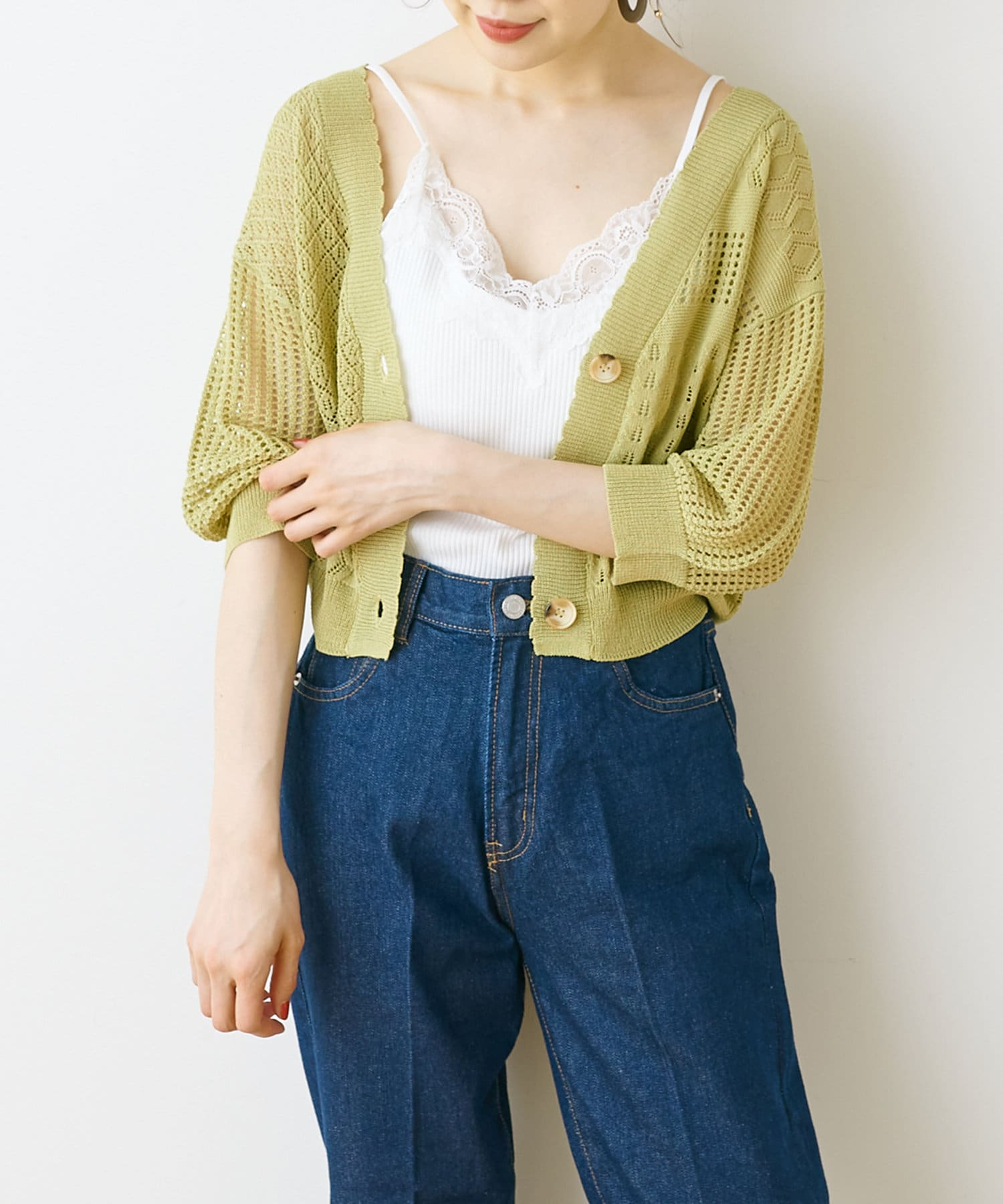 NICE CLAUP OUTLET(ナイスクラップ アウトレット) 透かしパッチワーク柄ショートカーデ