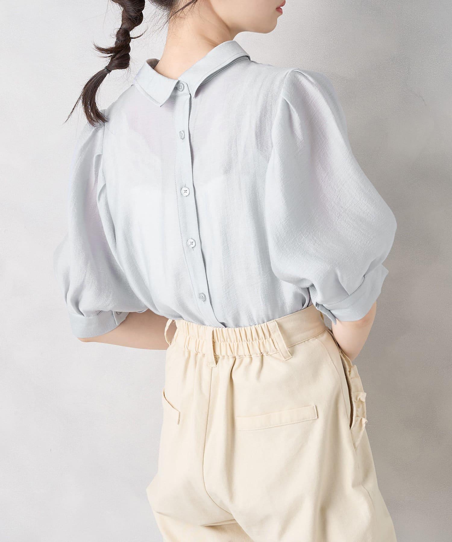 OLIVE des OLIVE(オリーブ デ オリーブ) ダブルフロント袖ボリュームシャツ