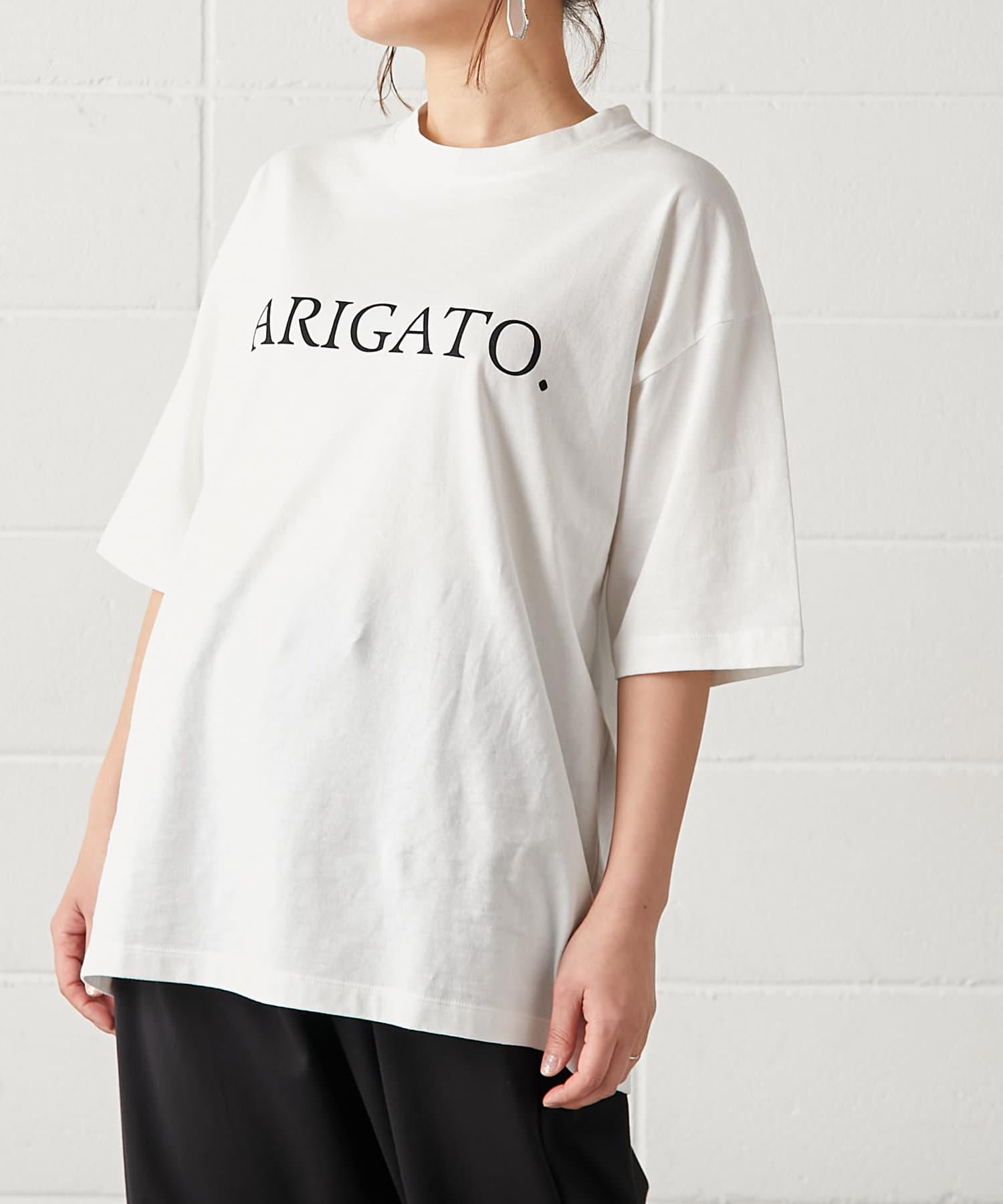 PLUS OTO.HA(プラス オトハ) ARIGATO ロゴ BOY Tシャツ