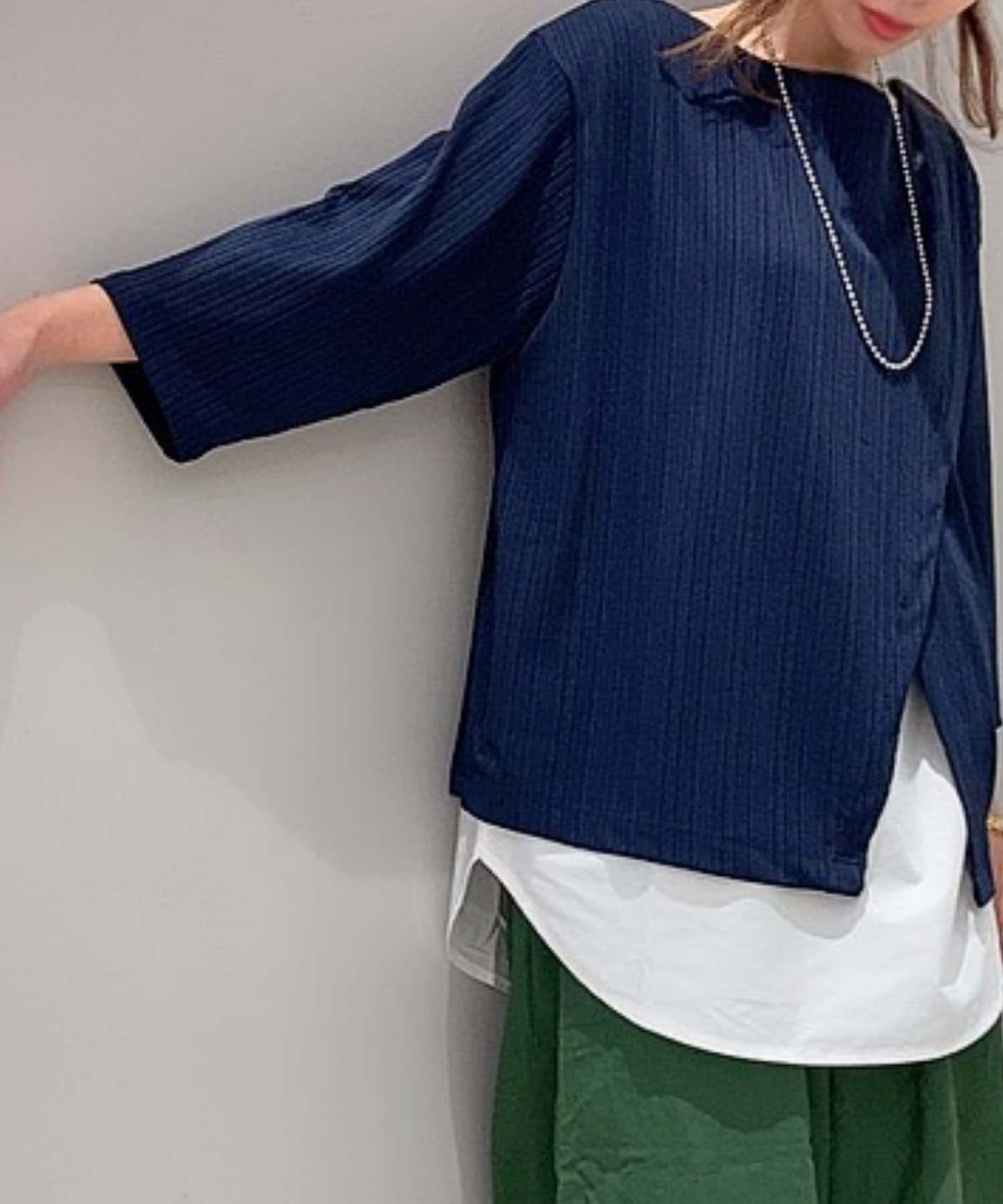 Pal collection(パルコレクション) 《シャツ重ね風》リブカットソー7分袖チュニック