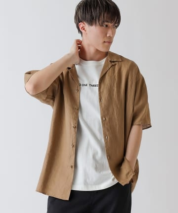 COLONY 2139(コロニー トゥーワンスリーナイン) フレンチリネンオープンカラー半袖シャツ