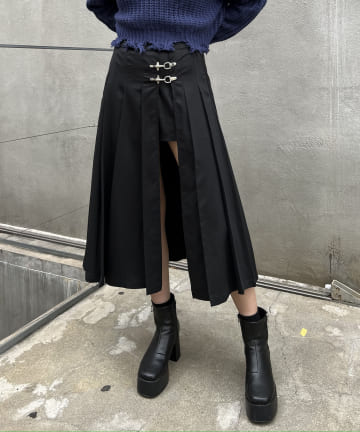 RASVOA(ラスボア) ファイヤーバックルミディスカート