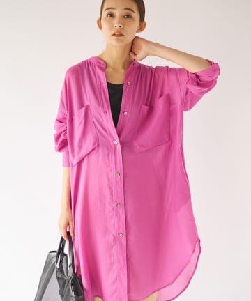 La boutique BonBon(ラブティックボンボン) 【手洗い可】シアーチュニックシャツ