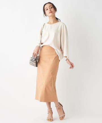 OUTLET premium(アウトレット プレミアム) 《XSサイズ》リネンリヨセル混ナロースカート