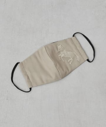 ear PAPILLONNER(イア パピヨネ) (WEB限定カラー:ネイビー)馬刺繍マスク