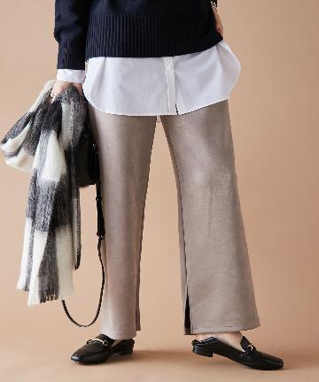 un dix cors(アンディコール) 【柔らかな素材がストレスフリーで履ける】スウェードダブルクロスパンツ