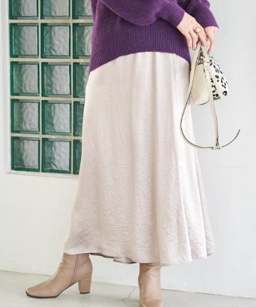 La boutique BonBon(ラブティックボンボン) 【手洗い可】サテンマーメイドマキシスカート
