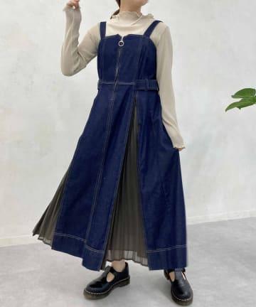 CPCM(シーピーシーエム) 【着用動画あり】プリーツ切替デニムジャンスカ