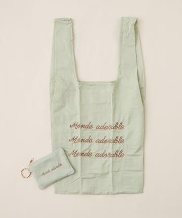 natural couture(ナチュラルクチュール) カラフルロゴ刺繍エコBAG
