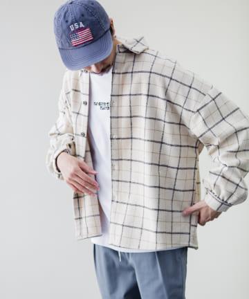 CPCM(シーピーシーエム) 【ユニセックス 男女 兼用】起毛チェックBIGシャツ