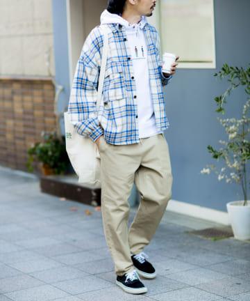 CPCM(シーピーシーエム) 【ユニセックス 男女 兼用】起毛チェック両ポケBIGシャツ