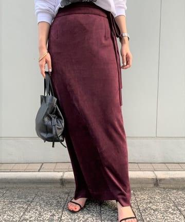OUTLET(アウトレット) 【SHENERY】エコスエードベルテッドタイトマキシスカート