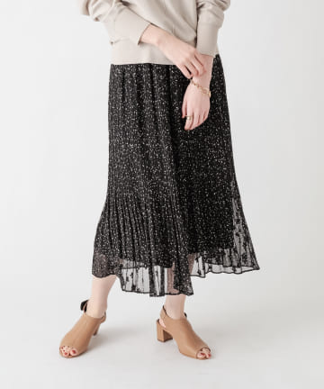 un dix cors(アンディコール) 《軽やかなでキャッチー柄》星柄ジャガードプリーツスカート