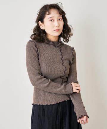 Kastane(カスタネ) 配色パイピングメロウリブニット