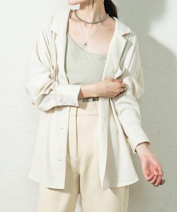 OUTLET(アウトレット) 【mystic】テンセルライク開襟シャツ