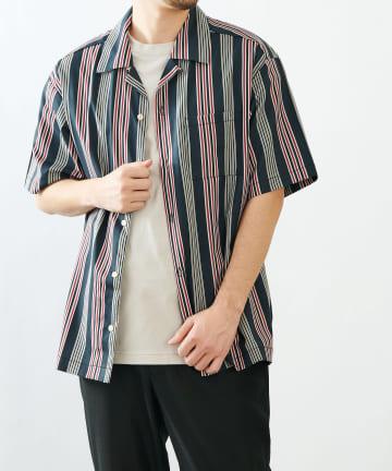 COLONY 2139(コロニー トゥーワンスリーナイン) ストライプオープンカラーシャツ